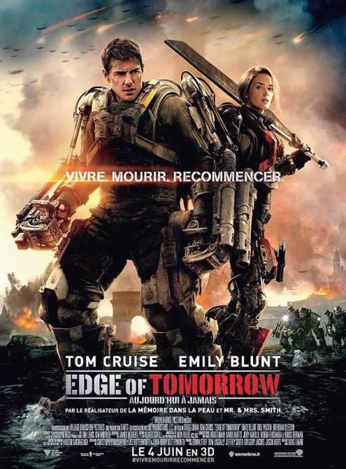 Edge of Tomorrow 2ème affiche Fr avec Tom Cruise et Emily Blunt.